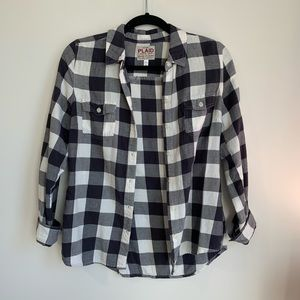 Old Navy Plaid Black and White Flannel